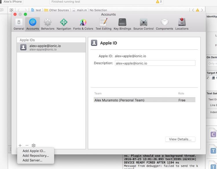 Ionic Framework: creating a provisioning profile