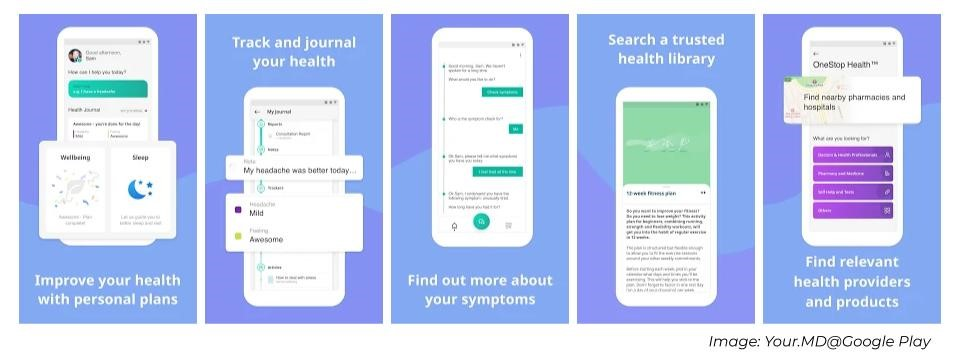 Snapshot of Your.MD healthcare chatbot illustrating the services it provides