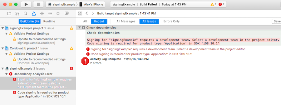 Code sign error in Xcode 8